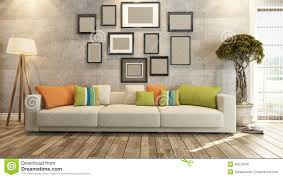 Wall Interior Design Living Room Interior Design With Frames On Concrete Wall 3d Rendering Stock
