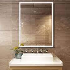 Boyel Living 36 In W X 48 In H Frameless Rectangular Led Light Bathroom Vanity Mirror In Clear Kfm44836sf2 The Home Depot