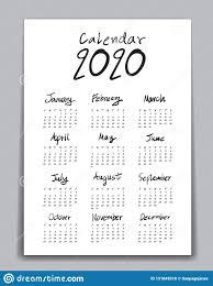12 Months 2020 Calendar Calendar 2020 Template Lettering Calendar Hand Drawn