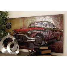 chic car wall art home decoration ideas 28 in x 55 rustic iron vintage and route