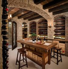 ... great basement idea for wine bar room also recessed wine storage also  cafe stools ...
