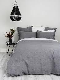 king charcoal chambray linen duvet cover set