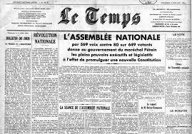 """Résultat de recherche d'images pour """"refus des parlementaires d'accorder les pleins pouvoir à Pétain"""""""