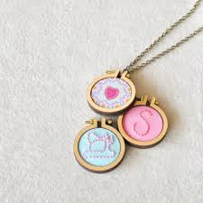 miniature embroidery hoop necklaces