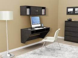 Black Wood Wall Mounted Bookshelf Over Computer Desk Storage