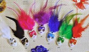 Miniature Masquerade Masks Decorations Mini Mardi Gras Feathered Glitter Clip Mask Venetian Masquerade 11