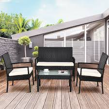 Costway <b>4 PCS</b> Outdoor Patio Furniture Set Table <b>Chair</b> Sofa ...