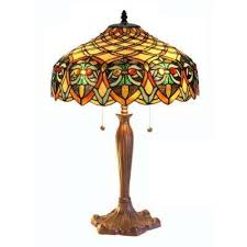 ariel bronze table lamp with stained glass