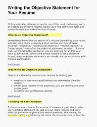Resume Objective Statements Awesome Resume Objective Statement Examples Inspirational Skills To Write On
