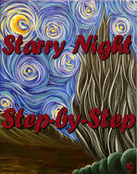 starry night step by step acrylic painting on canvas for beginners you