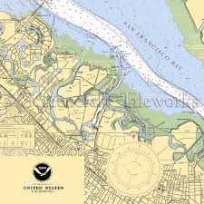 California Redwood City San Francisco Bay Nautical Chart Decor