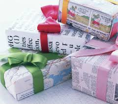 gift wrapped in reused paper