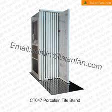 ct047 free standing metallic ceramic tile display shelf