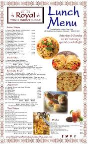 Restaurant To Go Menus Royalthaiindian Cuisines New Lunch Menu Poster Additional