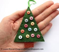 felt Christmas tree ornament decorated with mini buttons