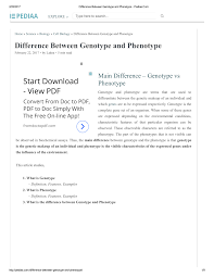 pdf difference between genotype and phenotype