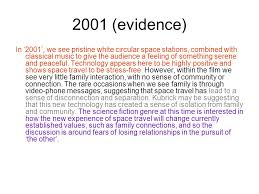 genre and society learning intention how to structure an essay  2001 evidence in 2001 we see pristine white circular space stations