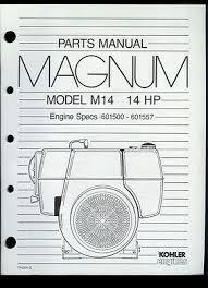 kohler engines magnum model m14 14hp parts manual catalog 1991 rare original factory kohler magnum m14 14hp engine parts manual