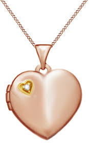 jewel zone us natural diamond accent heart locket pendant necklace in 14k two tone white gold over sterling silver com