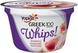 yoplait greek 100 calories whips strawberry cheesecake fat free yogurt mousse
