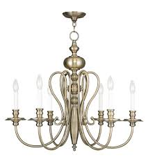 livex 5166 01 caldwell 6 light 30 inch antique brass chandelier ceiling light