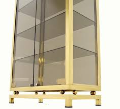 Glass Curio Cabinets With Lights Modern Solid Brass Glass Curio Cabinet Display Case Vitrine At 1stdibs