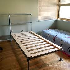 this small bed frame was built by holli in sacramento california her son wanted an industrial style bed so holli took to google to find some options