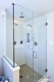 contemporary bathroom shower with metal edge trim