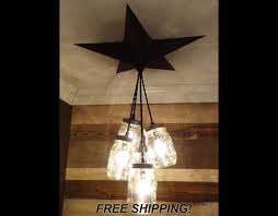 mason jar chandelier barn star country rustic primitive pendant light 5 jars chandelier barn board