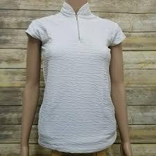 Lucy Activewear Textured Cap Sleeve Zip Mock Neck