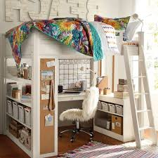 Ladder Red Painting Wall Decor Kids Loft Bed With Desk Double Bunk Bed  Bedside Desk Pink Wall Paint