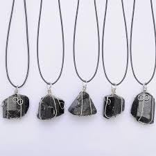 whole black tourmaline pendant necklace raw stone schorl leather necklace chakra healing crystal quartz point pendant natural stone necklace mens gold
