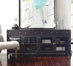 Living Room Media Cabinet Shadow Box Industrial Black Metal Media Console Industrial