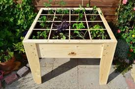 raised wooden planter design with divisions in a square foot grid