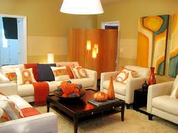 Orange And White Living Room Living Room Colors Ideas With Modern