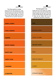 Fake Tan Colour Chart Essex Tan Chart A Colour Chart With Stereotypical And Ligh