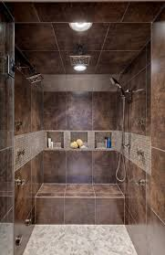 Shower Bathroom Shower Design With Bench And Pebble Floors Walk In Shower