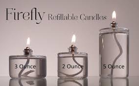 2 ounce 3 ounce and 5 ounce refillable glass oil candles