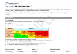 Method Of Statement Sample Safe Work Method Statement Template Signature Staff 16