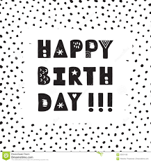 Black Ink Hand Drawn Happy Birthday Vector Greeting Card Stock