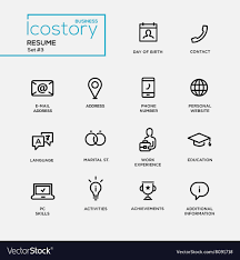 Resume Icons Modern resume simple thin line design icons Vector Image 1