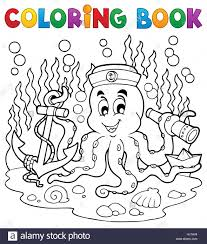coloring book octopus sailor 1 picture ilration