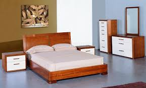 Lacquer Bedroom Furniture Teak And White Lacquer Finish Modern Two Tone Bedroom Set