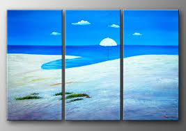 Small Picture hand painted Blue ocean beach white Home Decoration Modern