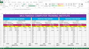 How To Make Fees Report Card In Ms Excel Youtube