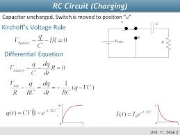 rc circuit charging kirchoff s voltage rule diffeial equation
