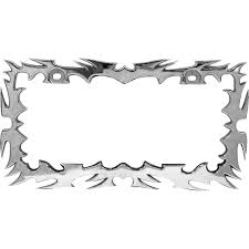 Design My Own License Plate Frame Custom Accessories Chrome Tribal Flames Design License Plate