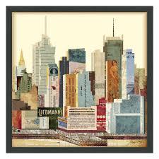 new york city skyline dimensional collage framed