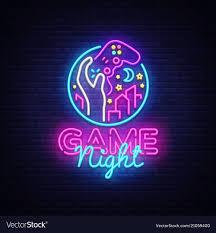 Neon Sign Logo Design Game Night Neon Sign Logo Design Template
