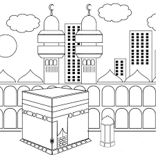 Kaaba Kabah Colouring Page Islamic Worksheets For Children